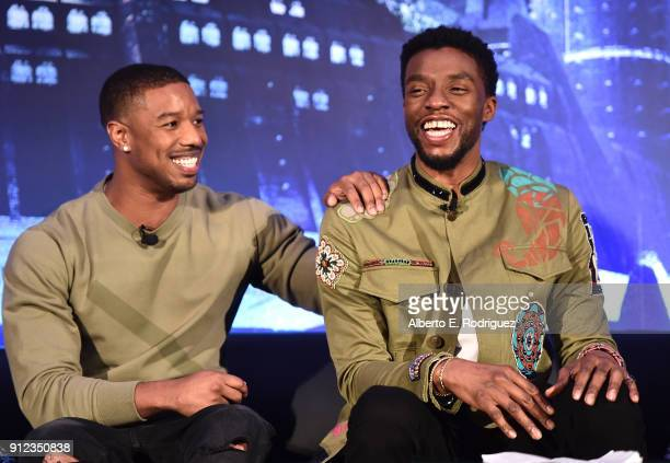 Actors Michael B Jordan and Chadwick Boseman attend the Marvel Studios' BLACK PANTHER Global Junket Press Conference on January 30 2018 at Montage...