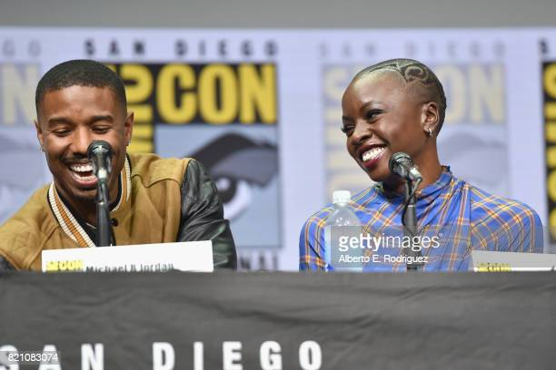 Actors Michael B Jordan and Danai Gurira from Marvel Studios' 'Black Panther' at the San Diego ComicCon International 2017 Marvel Studios Panel in...
