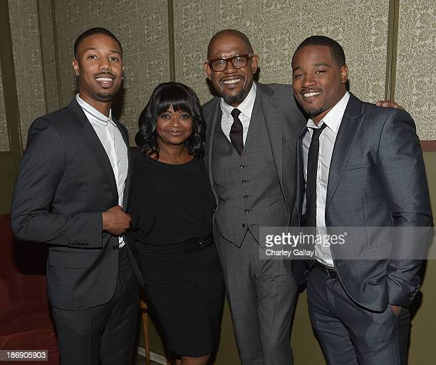 Actors Michael B Jordan and Octavia Spencer actorproducer Forest Whitaker and director Ryan Coogler attend the Vanity Fair event honoring Michael B...