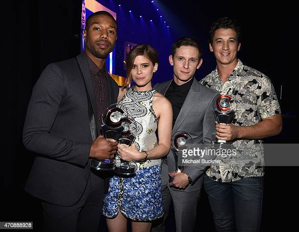 """Actors Michael B. Jordan, Kate Mara, Jamie Bell and Miles Teller pose backstage with the Ensemble Award for """"Fantastic Four"""" at The CinemaCon Big..."""