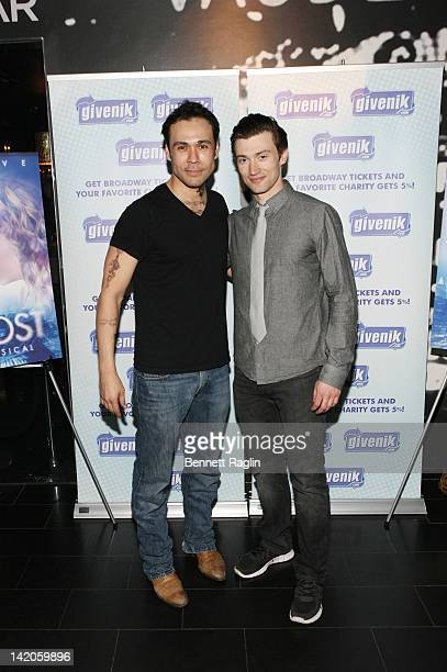 Actors Michael Balderrama and Bryce Pinkham attend the Ghost The Musical postperformance reception at the Paramount Hotel on March 28 2012 in New...