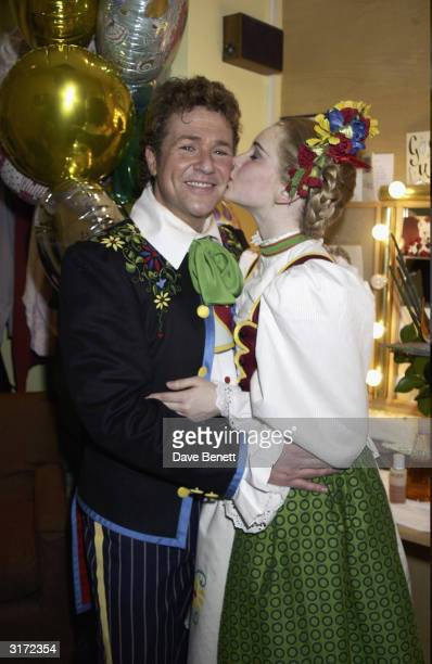 Actors Michael Ball and Emma Williams backstage during the opening night of the musical 'Chitty Chitty Bang Bang' at the London Palladium on 16th...