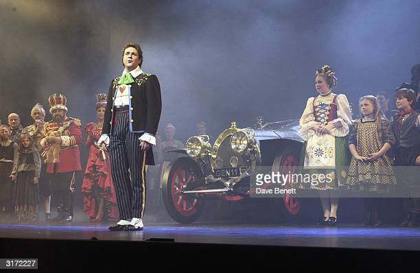 Actors Michael Ball and Emma Williams on stage with the cast during the opening night of the musical 'Chitty Chitty Bang Bang' at the London...