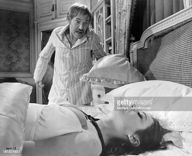 Actors michael Bryant and actress Imogen Hassall on the set of the movie Mumsy Nanny Sonny and Girly in circa 1970