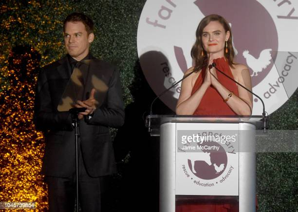 Actors Michael C Hall and Emily Deschanel speak onstage during the 2018 Farm Sanctuary on the Hudson gala at Pier 60 on October 4 2018 in New York...