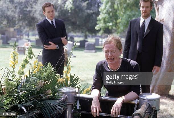 """Actors Michael C. Hall , Frances Conroy and Peter Krause are shown in a scene from the HBO series """"Six Feet Under"""". The series, about a family who..."""