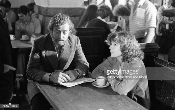 Actors Michael Caine and Julie Walters on the set of the film 'Educating Rita' at Trinity College, Dublin, August 10, 1982. .