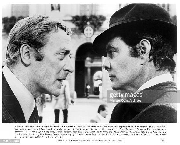 Actors Michael Caine and Louis Jourdan on set the movie Silver Bears circa 1977