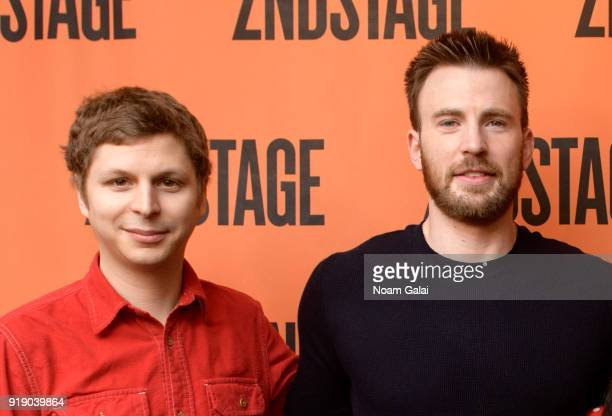 Actors Michael Cera and Chris Evans attend the 'Lobby Hero' cast meet and greet at Sardi's on February 16 2018 in New York City
