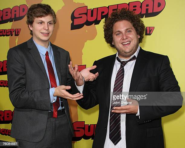 Actors Michael Cera and Jonah Hill attend the premiere of Superbad at Grauman's Chinese Theatre on August 13 2007 in Hollywood California