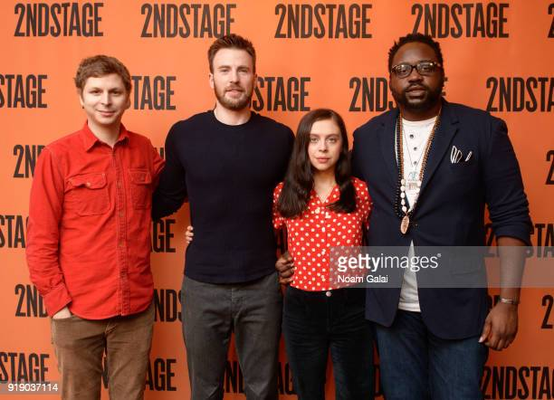 "Actors Michael Cera, Chris Evans, Bel Powley and Brian Tyree Henry attend the ""Lobby Hero"" cast meet and greet at Sardi's on February 16, 2018 in New..."