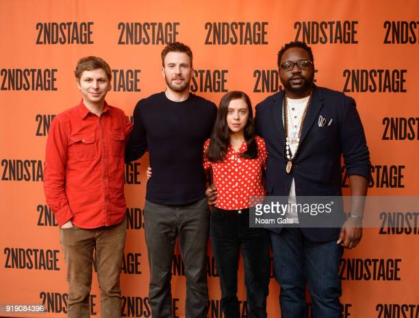 Actors Michael Cera Chris Evans Bel Powley and Brian Tyree Henry attend the 'Lobby Hero' cast meet and greet at Sardi's on February 16 2018 in New...
