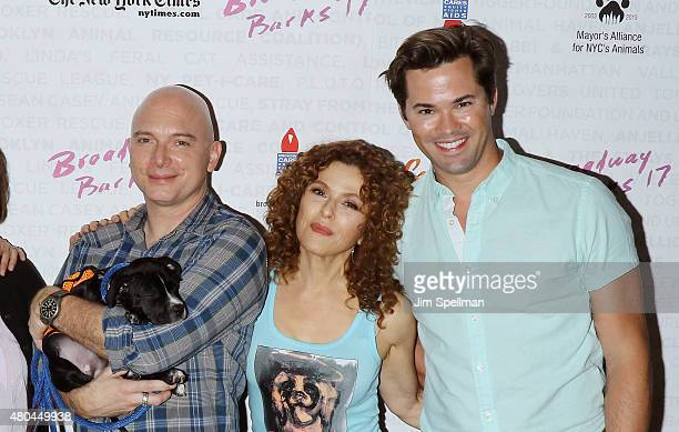 Actors Michael Cerveris Bernadette Peters and Andrew Rannells attend the Broadway Barks 17 at Shubert Alley on July 11 2015 in New York City