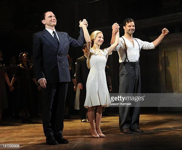Actors Michael Cerveris Elena Roger and Ricky Martin attend the 'Evita' Broadway revival curtain call and press conference at the Marriott Marquis...