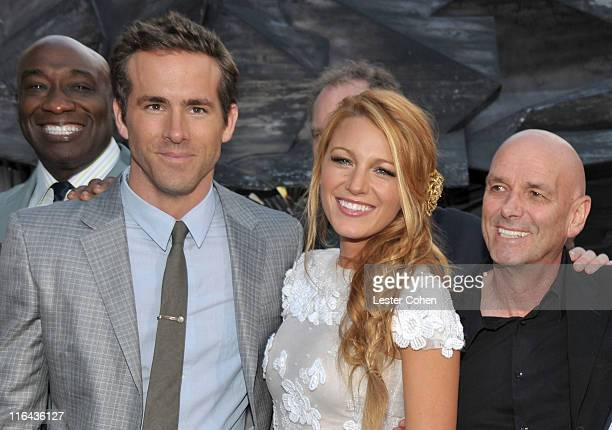 Actors Michael Clarke Duncan Ryan Reynolds Blake Lively and director Martin Campbell arrive at the 'Green Lantern' Los Angeles Premiere held at at...