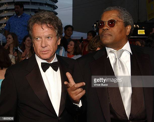 Actors Michael Cole and Clarence Williams III attend the ABC Television Network's 50th Anniversary Special at the Pantages Theatre on March 16 2003...