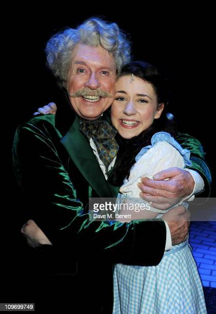 Actors Michael Crawford and Danielle Hope pose backstage during press night of Andrew Lloyd Webber's new West End production of The Wizard of Oz at...