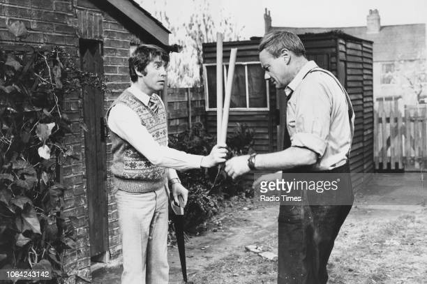 Actors Michael Crawford and Glynn Edwards in a scene from episode 'Australia House' of the television sitcom 'Some Mothers Do 'Ave 'Em', November...