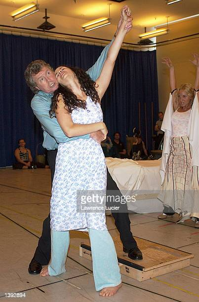 Actors Michael Crawford and Mandy Gonzalez perform at a preview of Dance of the Vampires September 18 2002 in New York City The production is based...