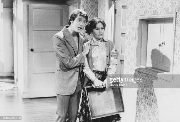 Actors Michael Crawford and Michele Dotrice in a scene from episode 'Moving House' of the television sitcom 'Some Mothers Do 'Ave 'Em' October 8th...