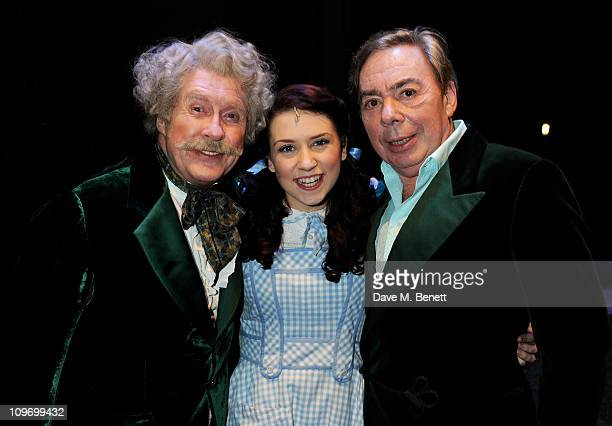 Actors Michael Crawford Danielle Hope and Lord Andrew Lloyd Webber pose backstage during press night of Andrew Lloyd Webber's new West End production...