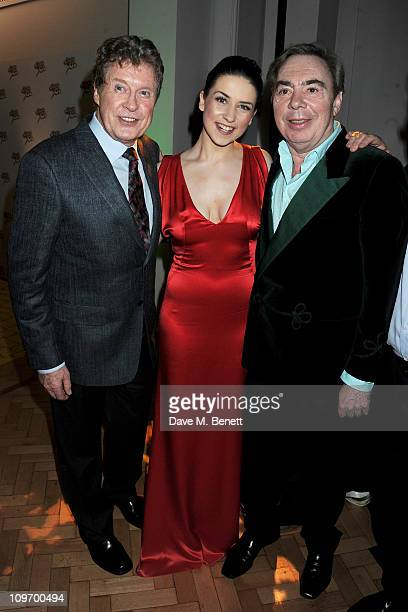 Actors Michael Crawford, Danielle Hope and Lord Andrew Lloyd Webber attend an after party following press night for Andrew Lloyd Webber's new West...