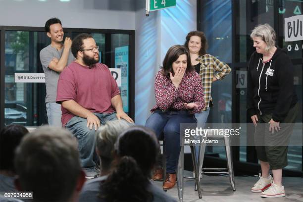 Actors Michael Cruz Kayne Zach Cherry Abra Tabak Chelsea Clarke and Shannon O'Neill members of the Upright Citizens Brigade Theatre visit Build to...