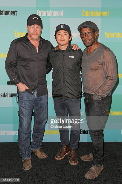 Actors Michael Cudlitz Steven Yeun and Lennie James arrive at the Entertainment Weekly celebration at Float at Hard Rock Hotel San Diego on July 11...