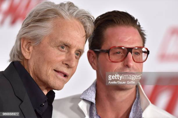 Actors Michael Douglas and Cameron Douglas attend the premiere of Disney and Marvel's 'Ant-Man and the Wasp' at El Capitan Theatre on June 25, 2018...