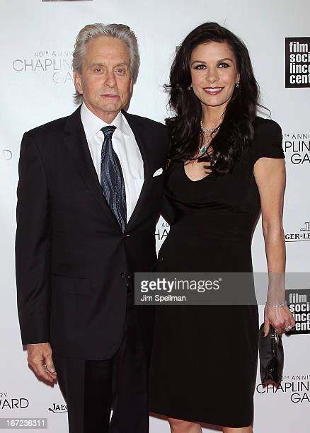 Actors Michael Douglas and Catherine Zeta Jones attend the 40th Anniversary Chaplin Award Gala at Avery Fisher Hall at Lincoln Center for the...