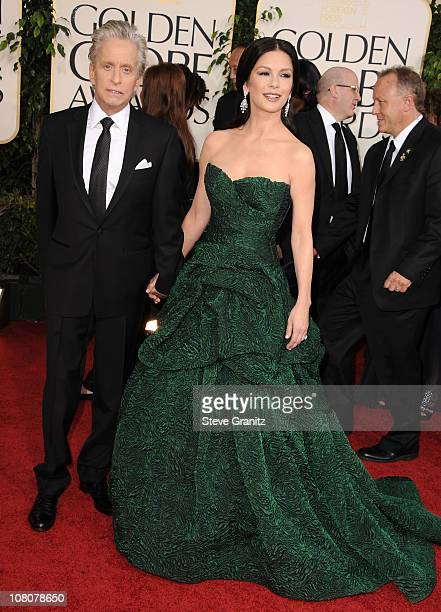 Actors Michael Douglas and Catherine ZetaJones arrive at the 68th Annual Golden Globe Awards held at The Beverly Hilton hotel on January 16 2011 in...