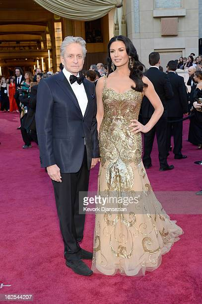 Actors Michael Douglas and Catherine Zeta-Jones arrive at the Oscars held at Hollywood & Highland Center on February 24, 2013 in Hollywood,...