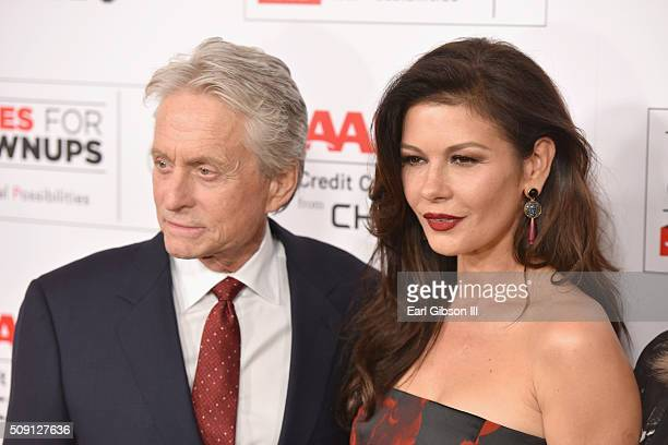 Actors Michael Douglas and Catherine ZetaJones attend AARP's 15th Annual Movies For Grownups Awards at the Beverly Wilshire Four Seasons Hotel on...