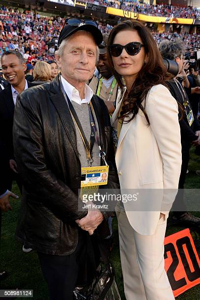Actors Michael Douglas and Catherine ZetaJones attend Super Bowl 50 at Levi's Stadium on February 7 2016 in Santa Clara California