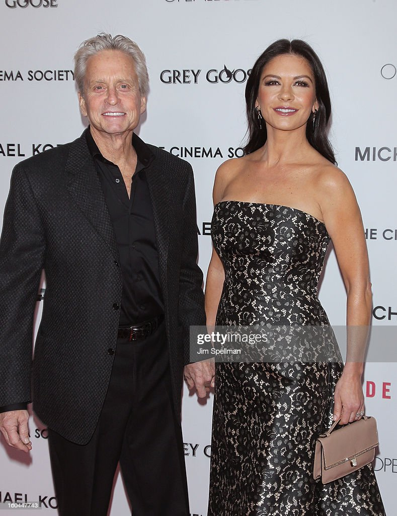 Actors Michael Douglas and Catherine Zeta-Jones attend the Open Road With The Cinema Society And Michael Kors Host The Premiere Of 'Side Effects' at AMC Lincoln Square Theater on January 31, 2013 in New York City.