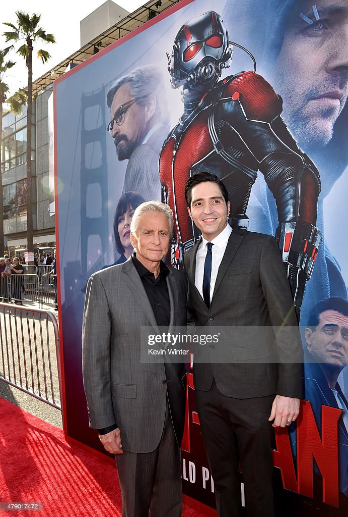 Actors Michael Douglas (L) and David Dastmalchian attend the premiere of Marvel's 'Ant-Man' at the Dolby Theatre on June 29, 2015 in Hollywood, California.