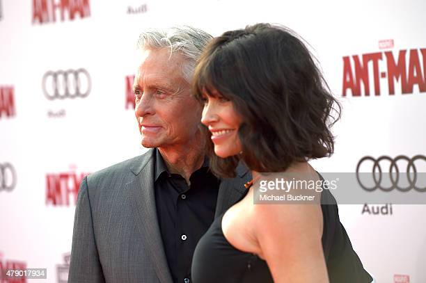 Actors Michael Douglas and Evangeline Lilly attend Audi celebrates the world premiere of 'AntMan' at The Dolby Theatre on June 29 2015 in Los Angeles...