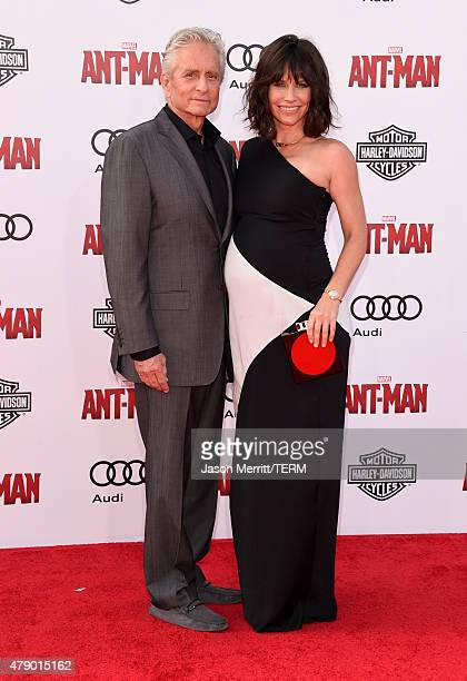 Actors Michael Douglas and Evangeline Lilly attend the premiere of Marvel's 'AntMan' at the Dolby Theatre on June 29 2015 in Hollywood California
