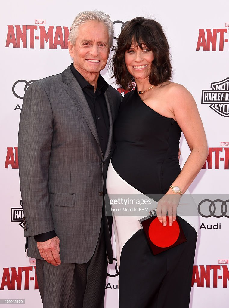 Actors Michael Douglas (L) and Evangeline Lilly attend the premiere of Marvel's 'Ant-Man' at the Dolby Theatre on June 29, 2015 in Hollywood, California.
