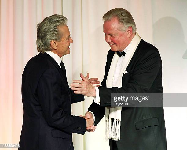 Actors Michael Douglas and Jon Voight attend the 2011 Children of Chernobyl's Children at Heart gala at the Chelsea Piers on November 21 2011 in New...