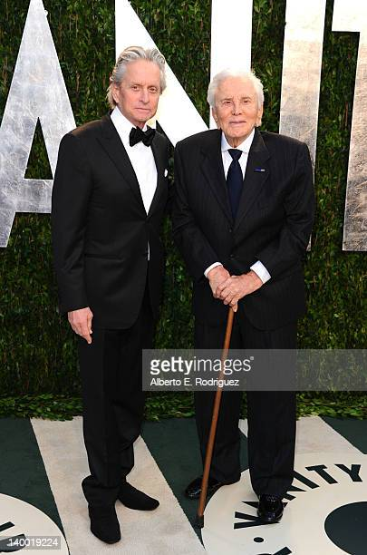 Actors Michael Douglas and Kirk Douglas arrive at the 2012 Vanity Fair Oscar Party hosted by Graydon Carter at Sunset Tower on February 26, 2012 in...