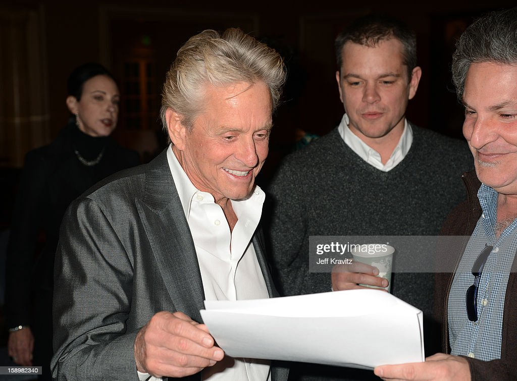 Actors Michael Douglas and Matt Damon attend the HBO Winter 2013 TCA Panel at The Langham Huntington Hotel and Spa on January 4, 2013 in Pasadena, California.