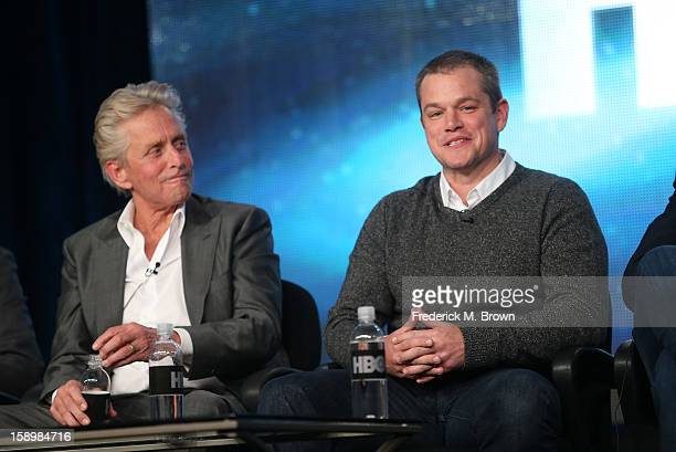 """Actors Michael Douglas and Matt Damon speak onstage during the """"Behind the Candelabra"""" panel discussion at the HBO portion of the 2013 Winter TCA..."""