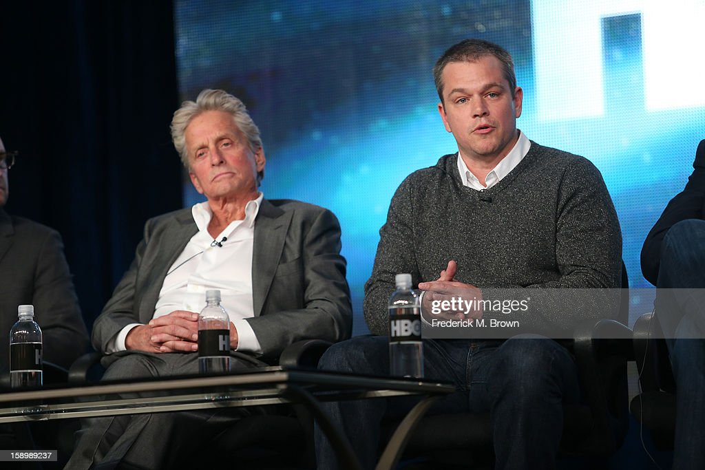Actors Michael Douglas (L) and Matt Damon speak onstage during the 'Behind the Candelabra' panel discussion at the HBO portion of the 2013 Winter TCA Tourduring 2013 Winter TCA Tour - Day 1 at Langham Hotel on January 4, 2013 in Pasadena, California.