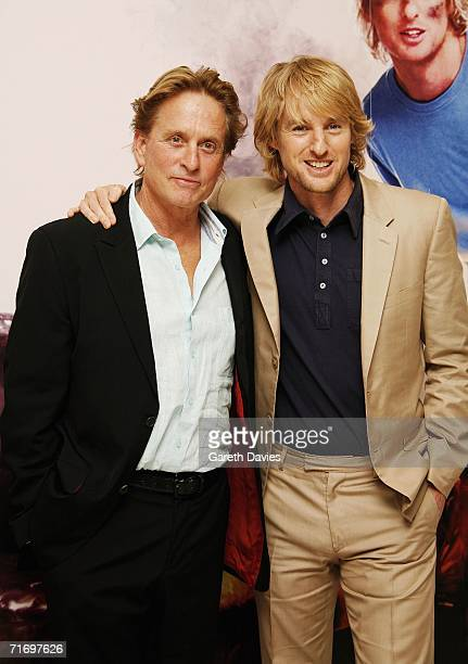 Actors Michael Douglas and Owen Wilson arrive at the UK premiere of 'You Me Dupree' at Odeon Leicester Square on August 22 2006 in London England