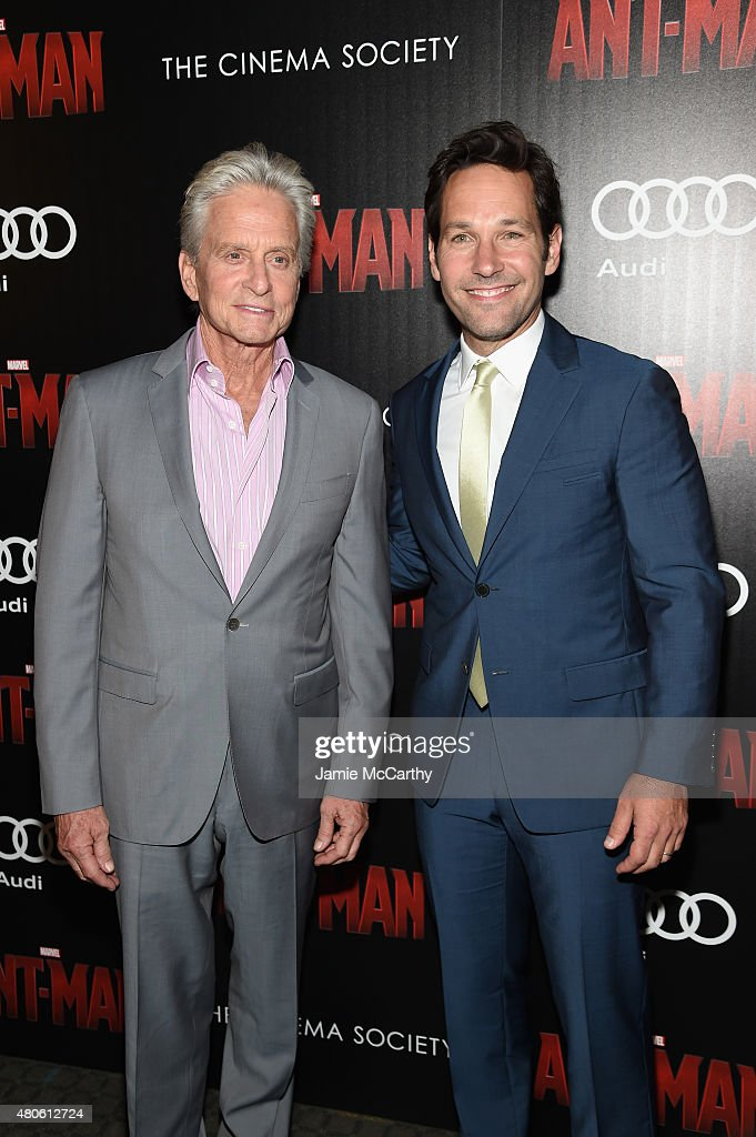 Actors Michael Douglas (L) and Paul Rudd attend Marvel's screening of 'Ant-Man' hosted by The Cinema Society and Audi at SVA Theater on July 13, 2015 in New York City.