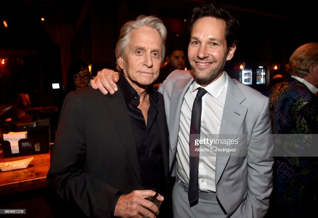 Actors Michael Douglas (L) and Paul Rudd attend the Los Angeles Global Premiere for Marvel Studios' 'Ant-Man And The Wasp' at the El Capitan Theatre on June 25, 2018 in Hollywood, California.