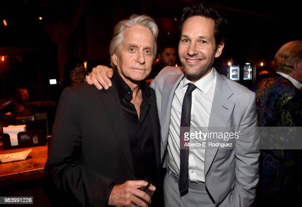 Actors Michael Douglas and Paul Rudd attend the Los Angeles Global Premiere for Marvel Studios' 'AntMan And The Wasp' at the El Capitan Theatre on...