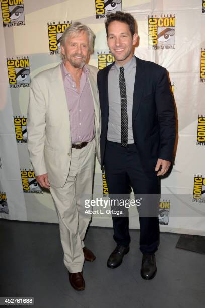 Actors Michael Douglas and Paul Rudd attend the Marvel Studios panel during ComicCon International 2014 at San Diego Convention Center on July 26...