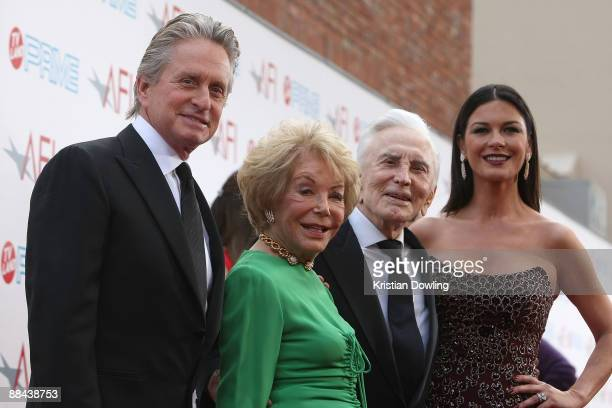Actors Michael Douglas Anne Buydens Kirk Douglas and Catherine ZetaJones arrive at AFI Lifetime Achievement Award A Tribute to Michael Douglas held...